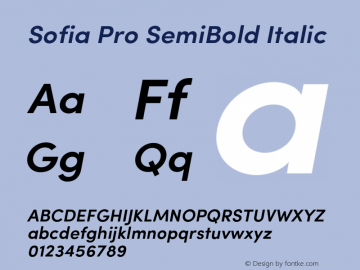 SofiaPro-SemiBoldItalic Version 2.000图片样张
