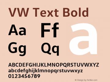 VW Text Bold Version 1.000 Font Sample
