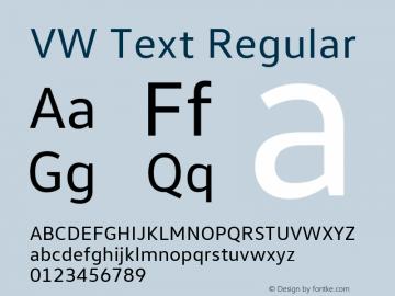 VW Text Version 1.000 Font Sample