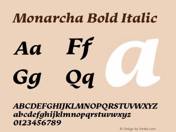Monarcha-BoldItalic Version 1.00图片样张