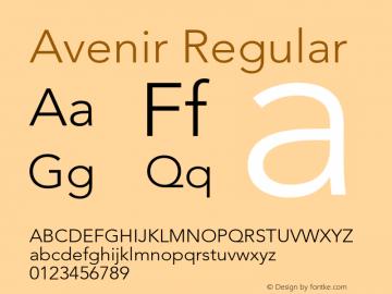 Avenir Regular 001.000 Font Sample
