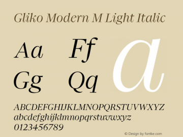 Gliko Modern M Light Italic Version 2.000 | w-rip DC20200115图片样张