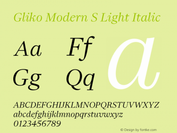 Gliko Modern S Light Italic Version 2.000 | w-rip DC20200115图片样张