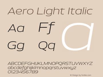 Aero-LightItalic Version 1.000 | wf-rip DC20110725图片样张