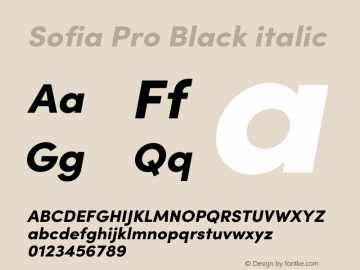 Sofia Pro Black italic Version 3.002   w-rip DC20190510 Font Sample
