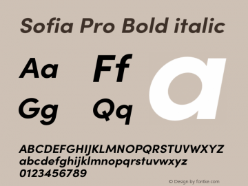 Sofia Pro Bold italic Version 3.002   w-rip DC20190510 Font Sample