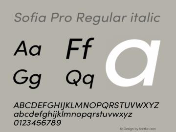 Sofia Pro Regular italic Version 3.002   w-rip DC20190510 Font Sample