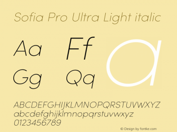 Sofia Pro Ultra Light italic Version 3.002   w-rip DC20190510 Font Sample