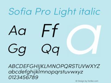 Sofia Pro Light italic Version 4.0 Font Sample