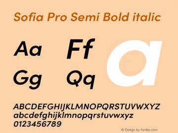 Sofia Pro Semi Bold italic Version 4.0 Font Sample