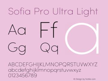 Sofia Pro Ultra Light Version 4.0 Font Sample