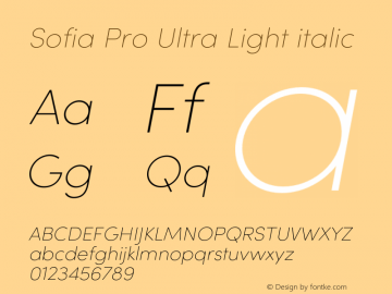 Sofia Pro Ultra Light italic Version 4.0图片样张