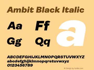 Ambit Black Italic Version 1.020;hotconv 1.0.109;makeotfexe 2.5.65596图片样张