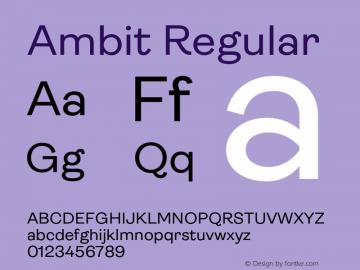 Ambit Regular Version 1.020;hotconv 1.0.109;makeotfexe 2.5.65596图片样张