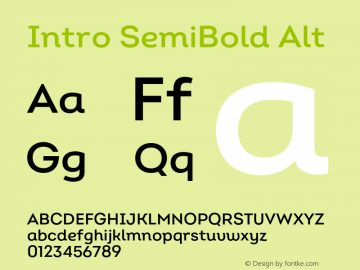 Intro SemiBold Alt Version 2.000;hotconv 1.0.109;makeotfexe 2.5.65596 Font Sample