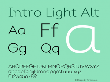 Intro Light Alt Version 2.000;hotconv 1.0.109;makeotfexe 2.5.65596 Font Sample