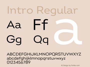 Intro Regular Version 2.000;hotconv 1.0.109;makeotfexe 2.5.65596 Font Sample