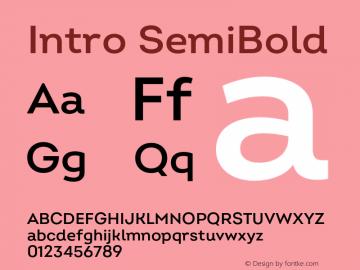 Intro SemiBold Version 2.000;hotconv 1.0.109;makeotfexe 2.5.65596 Font Sample