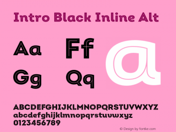 Intro Black Inline Alt Version 2.000;hotconv 1.0.109;makeotfexe 2.5.65596 Font Sample