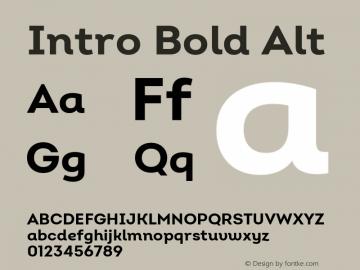 Intro Bold Alt Version 2.000 Font Sample