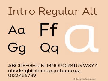 Intro Regular Alt Version 2.000 Font Sample