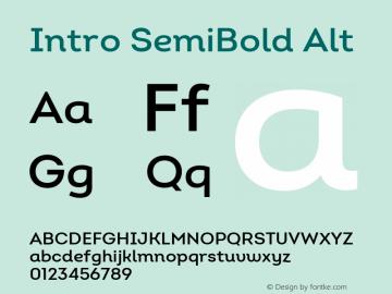 Intro SemiBold Alt Version 2.000 Font Sample