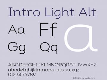 Intro Light Alt Version 2.000; ttfautohint (v1.8) Font Sample
