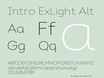 Intro ExLight Alt Version 2.000 Font Sample