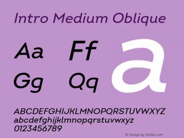 Intro Medium Oblique Version 2.000 Font Sample