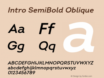 Intro SemiBold Oblique Version 2.000; ttfautohint (v1.8) Font Sample