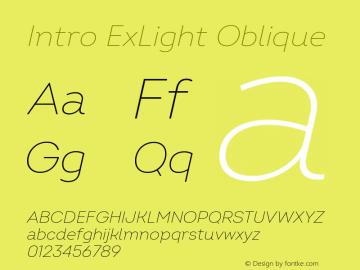 Intro ExLight Oblique Version 2.000 Font Sample