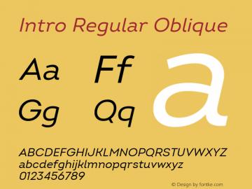 Intro Regular Oblique Version 2.000; ttfautohint (v1.8) Font Sample