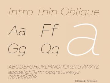 Intro Thin Oblique Version 2.000 Font Sample