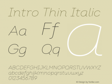 Intro Thin Italic Version 2.000 Font Sample