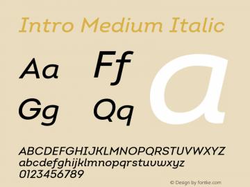 Intro Medium Italic Version 2.000 Font Sample