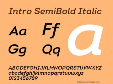 Intro SemiBold Italic Version 2.000; ttfautohint (v1.8) Font Sample