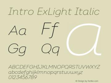 Intro ExLight Italic Version 2.000 Font Sample