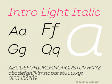 Intro Light Italic Version 2.000 Font Sample