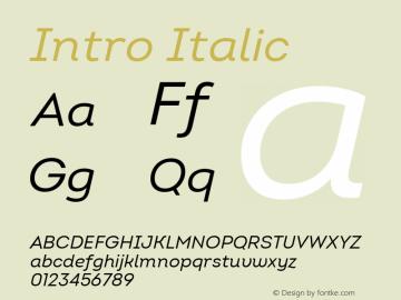 Intro Regular Italic Version 2.000; ttfautohint (v1.8) Font Sample