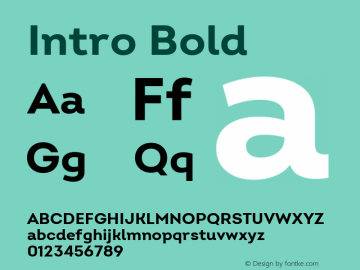 Intro Bold Version 2.000 Font Sample