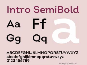 Intro SemiBold Version 2.000 Font Sample