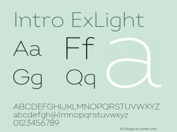Intro ExLight Version 2.000 Font Sample