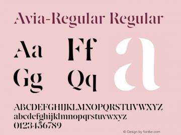Avia-Regular Regular Version 1.0; 2001; initial release图片样张