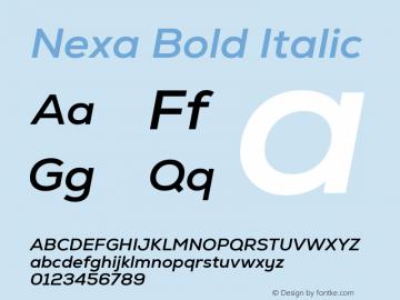 Nexa Bold Italic Version 2.001图片样张