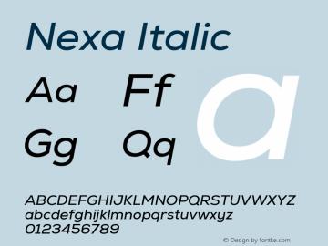 Nexa Regular Italic Version 2.001图片样张