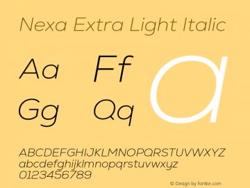 Nexa Extra Light Italic Version 2.001图片样张