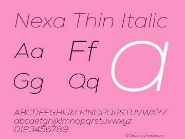 Nexa Thin Italic Version 2.001图片样张