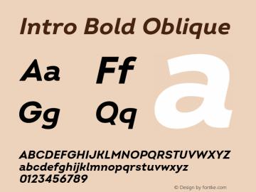 Intro Bold Oblique Version 2.000; ttfautohint (v1.8) Font Sample