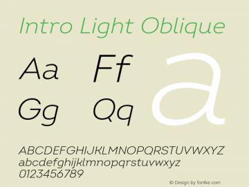 Intro Light Oblique Version 2.000 Font Sample