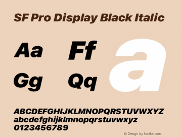SFProDisplay-BlackItalic Version 15.0d7e11图片样张